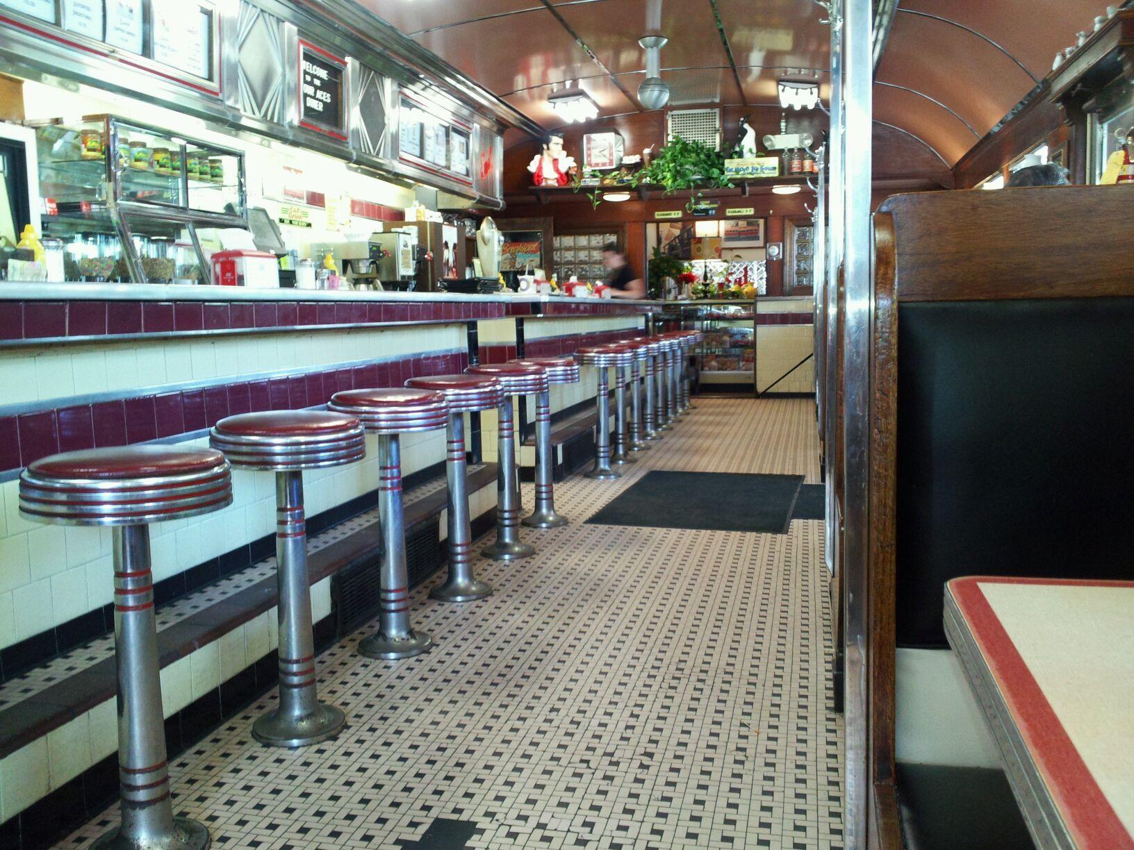 Authentic fifties decor and diner restaurant recherche