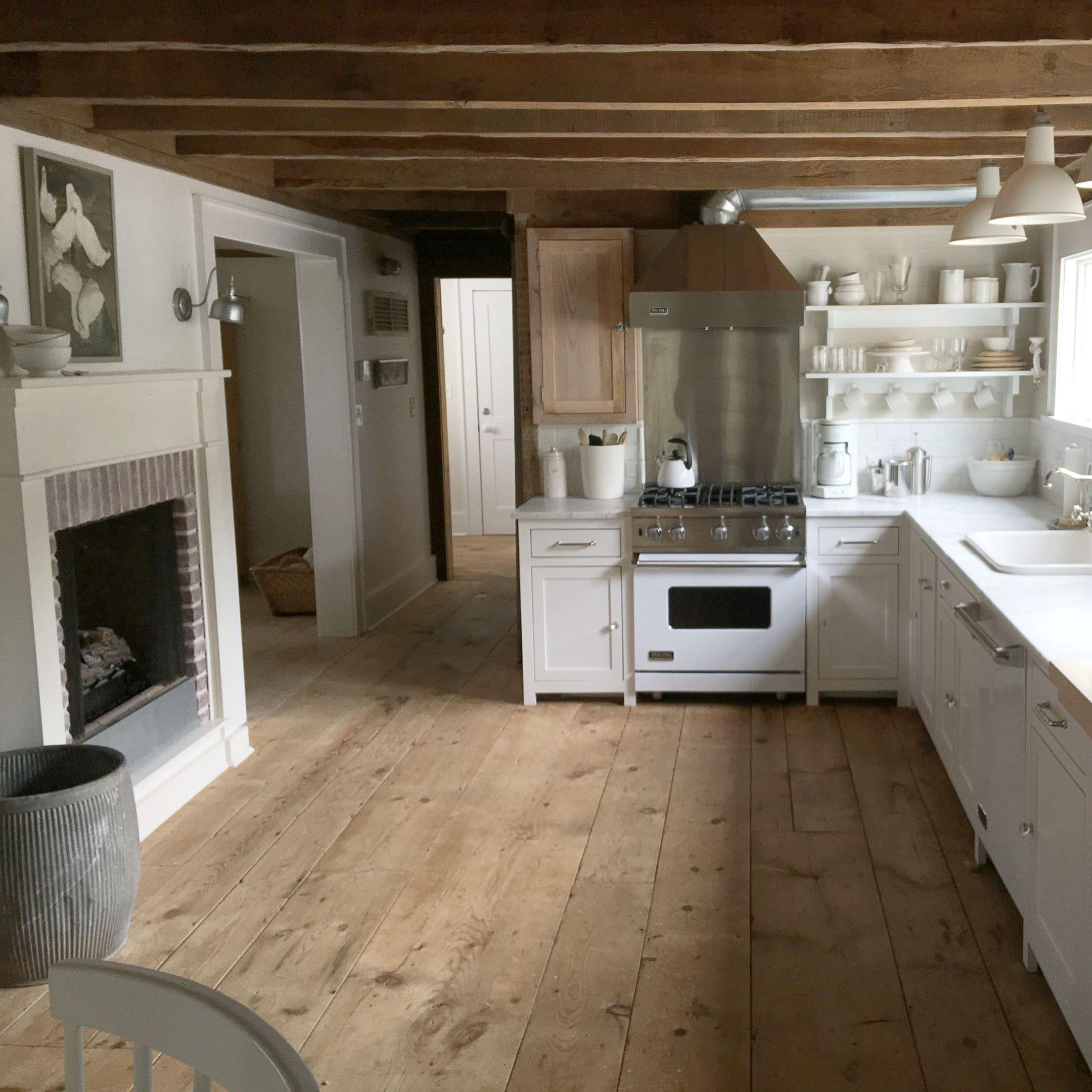 Cottage Kitchen Flooring Continued: Love This Kitchen. The Beams, Wood Floors, White Cabinets, Spacious Design, And Fireplace. The