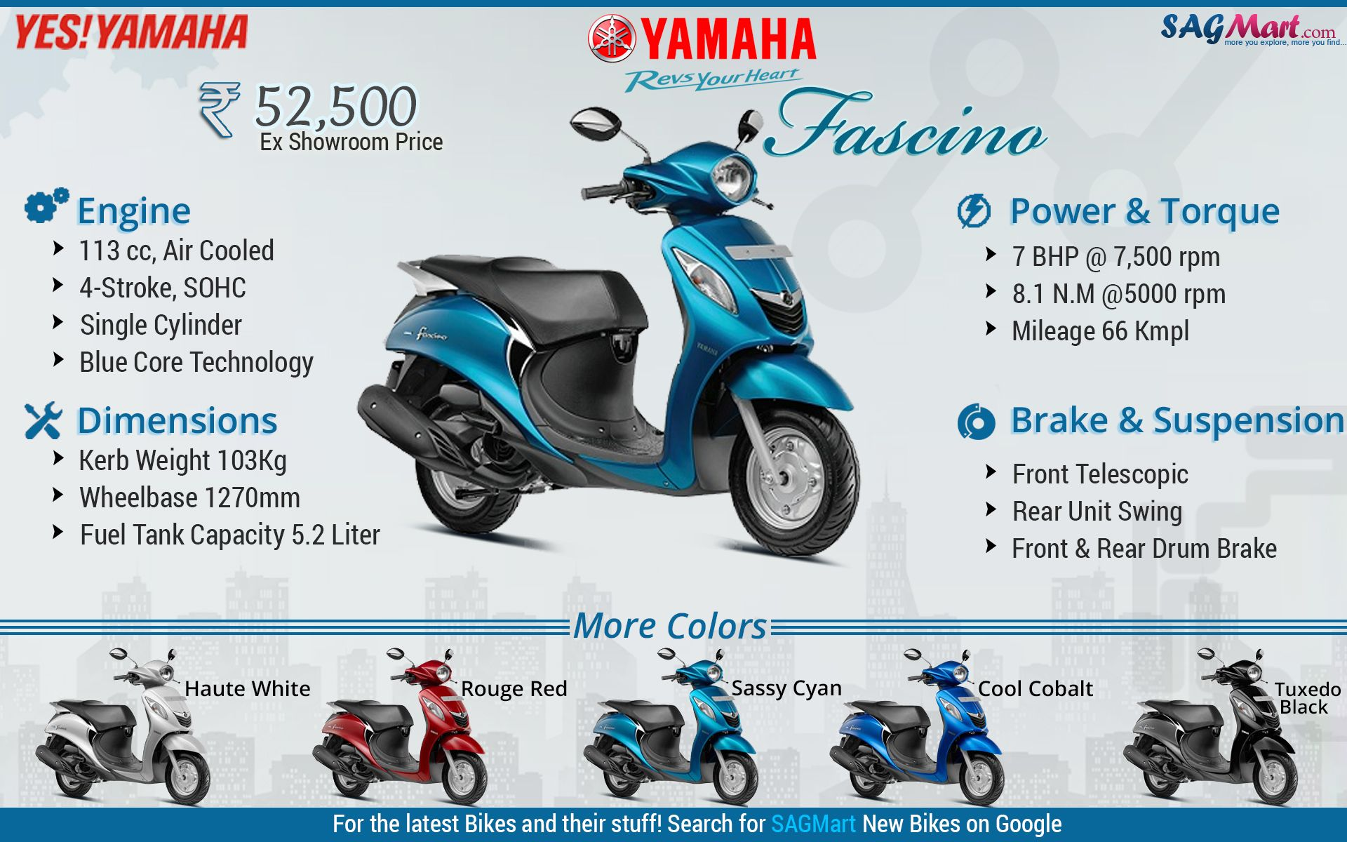 Yamaha Fascino Scooter Infographic Yamaha Car Showroom Infographic