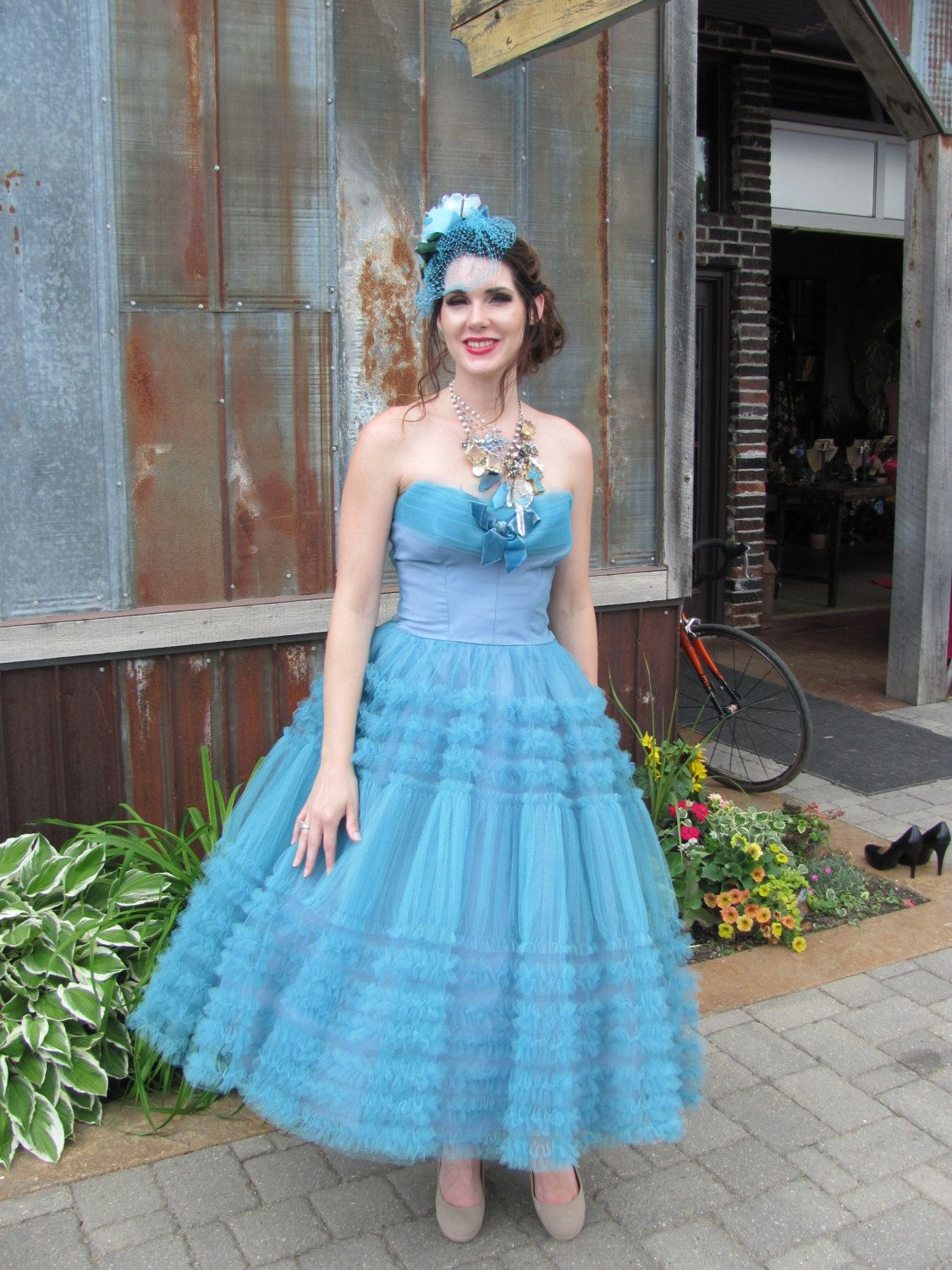 Rare 1950\'s Prom Dress Tulle and Ruffle Dress in Blue by ...