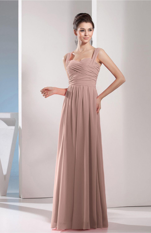5d3c5e43cb42 Dusty Rose Bridesmaid Dress, Cute A-line Chiffon Floor Length Ruching  Formal Evening Dress