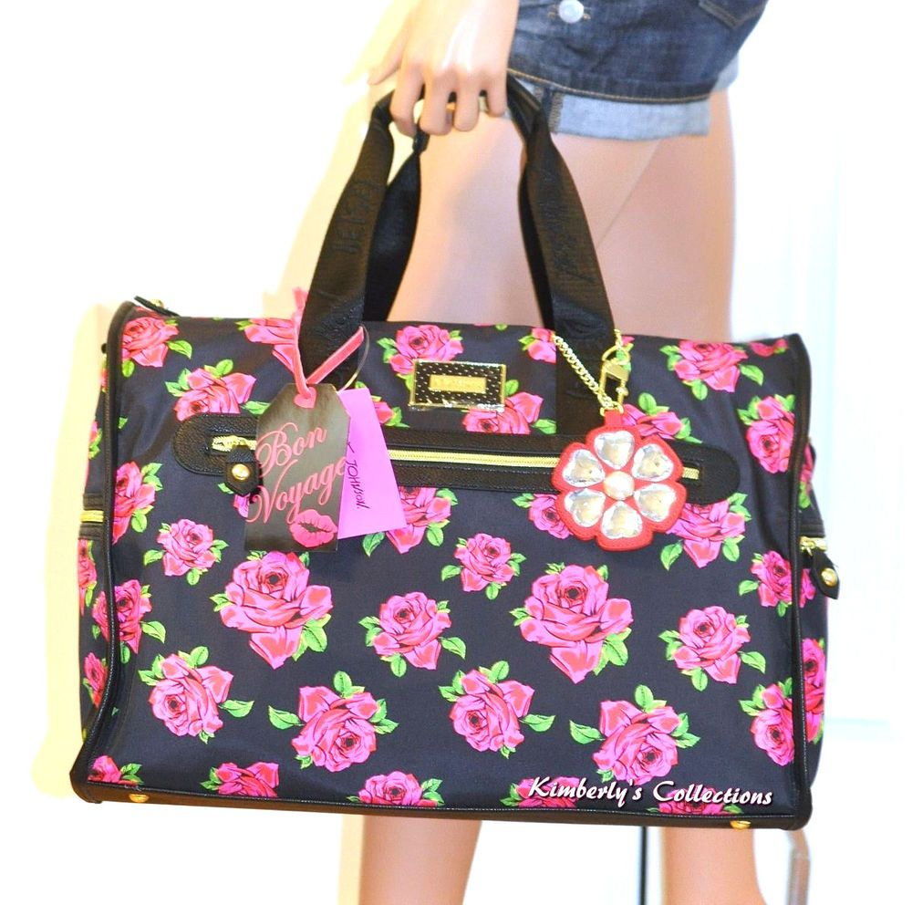 Betsey Johnson Weekender Quilted Stripe Satchel Travel Tote Bag ... : quilted travel tote - Adamdwight.com