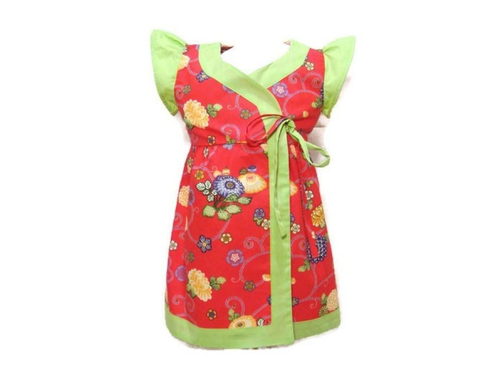a4ef9daca9faa Robe Cache-Coeur Bébé Fille 2 ans Robe Eté Manches Papillons Fleurs Rose  Corail Coton