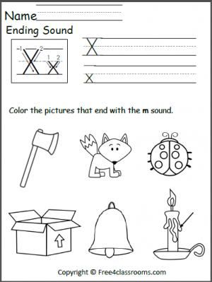 free ending x sound worksheet language arts preschool worksheets teaching letters free. Black Bedroom Furniture Sets. Home Design Ideas
