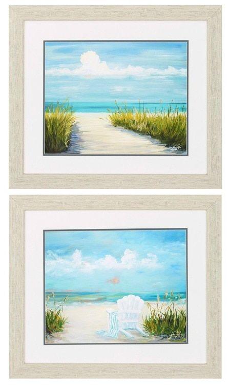 Beach Scenes Framed Art -Set of 2   Art for Coastal Homes ...