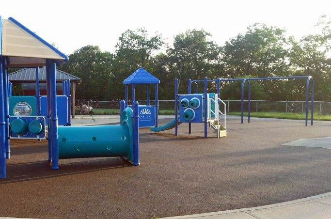 """""""Road Trip"""" to The Stony Child Development Center at West Point Military Academy in New York. No Fault installed over 15,000 square feet of our rubber playground surfacing for 5 separate playgrounds."""