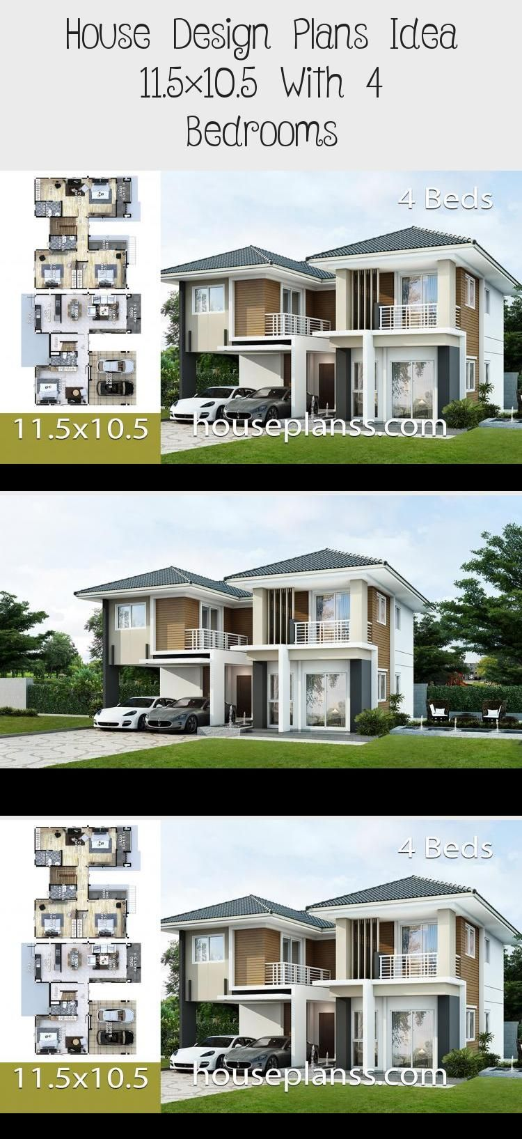 House Design Plans Idea 11 5 10 5 With 4 Bedrooms In 2020 Home Design Plans House Design House Styles