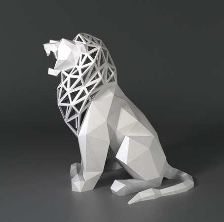 3DPrinted LowPoly Roaring Lion