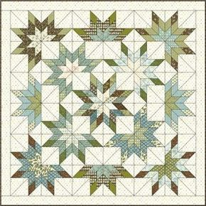 lone starburst quilt pattern | Lone-Starburst-with-fabrics by Connie MacAlister