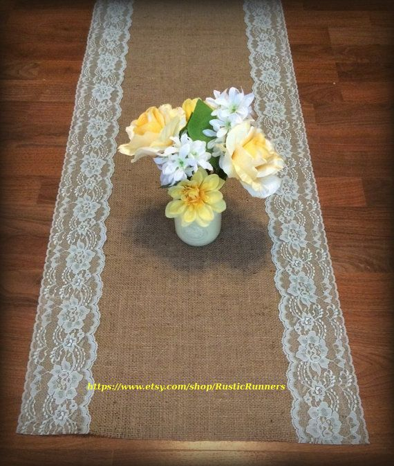 Rustic Burlap And Mint Green Lace Table Runner Size 14 X 72 Barn