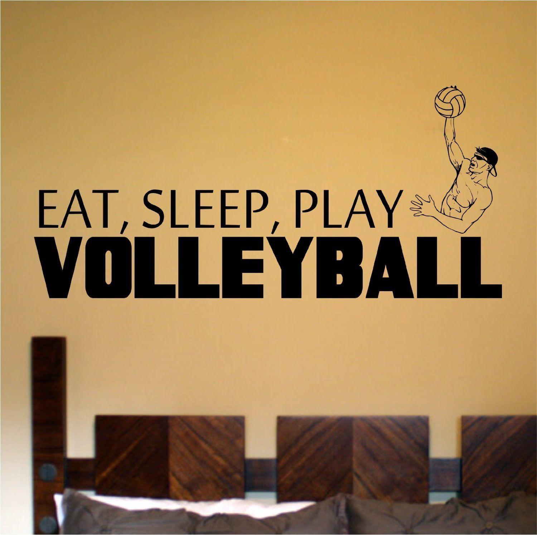 Eat Sleep Play Boy\'s Volleyball Vinyl Wall Decal Sticker Art Sports ...