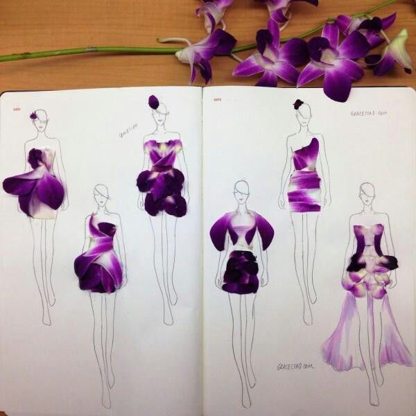 Grace Ciao - Using Real Flower Petals, Designer Creates Beautiful Fashion Illustrations
