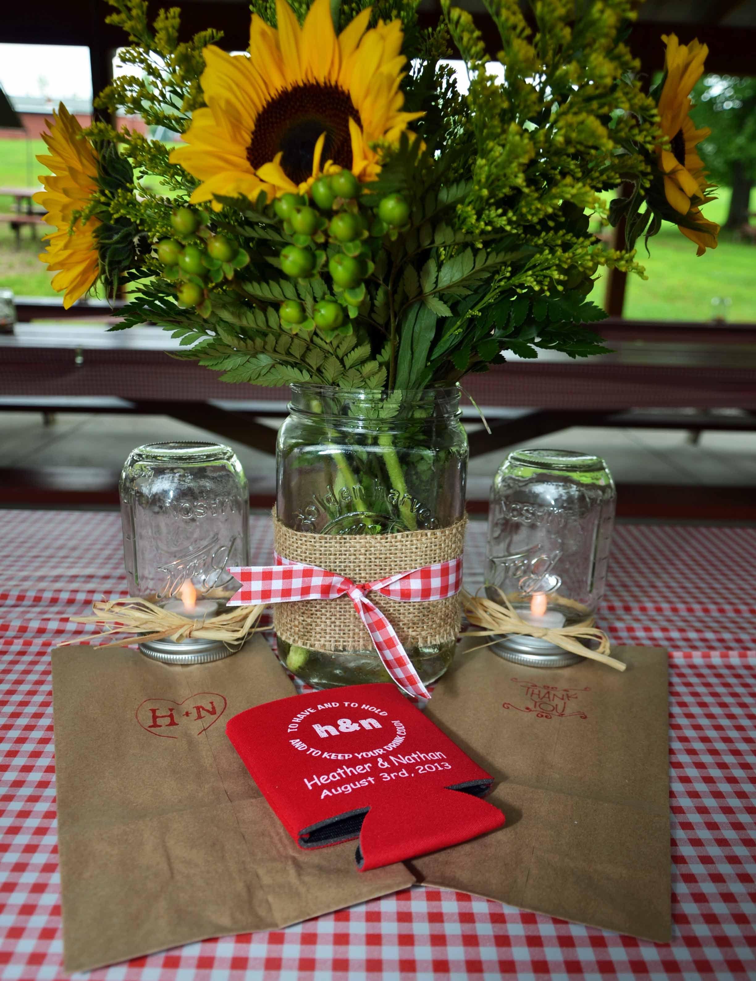 Red gingham sunflowers mason jars koozies dewitt