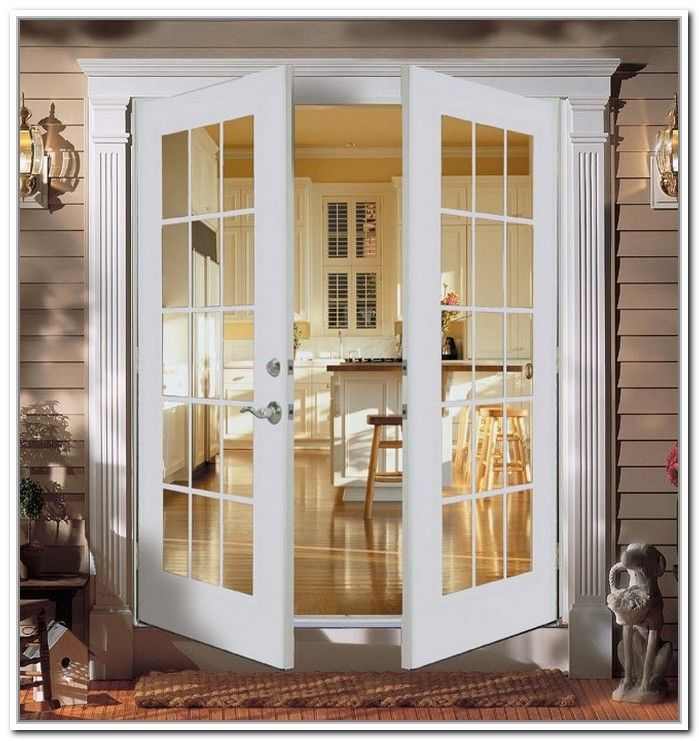 ReliaBilt French Patio Door Wind Code Approved Steel Insulated Glass White  Out Swing Brick Mold Left Hand Screen Not Included
