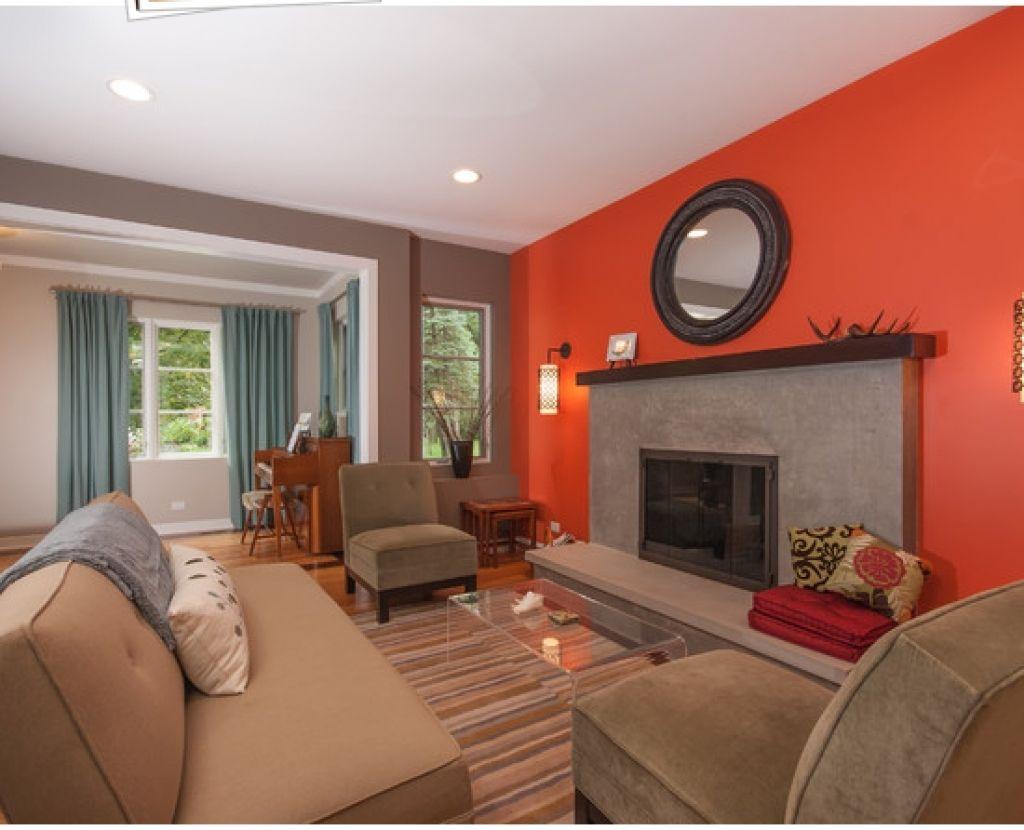 Beautiful Orange Living Room Paint Color Combinations Designs Ideas ...