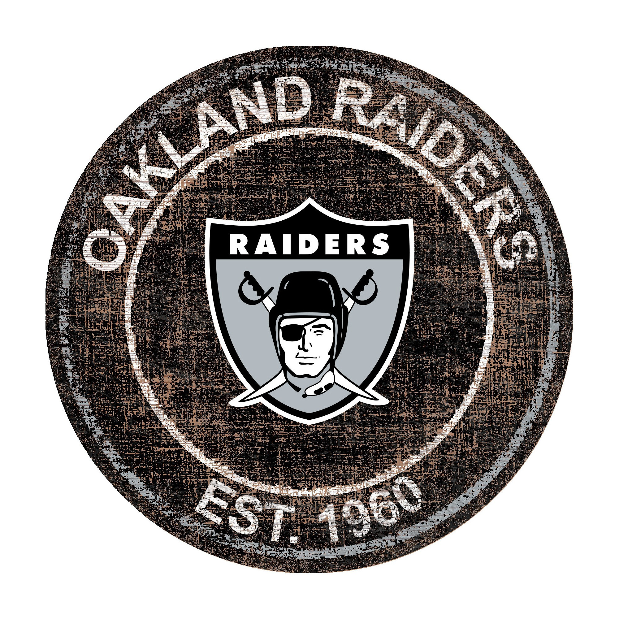 NFL Oakland Raiders Fan Creations Heritage Logo 24 Round Sign