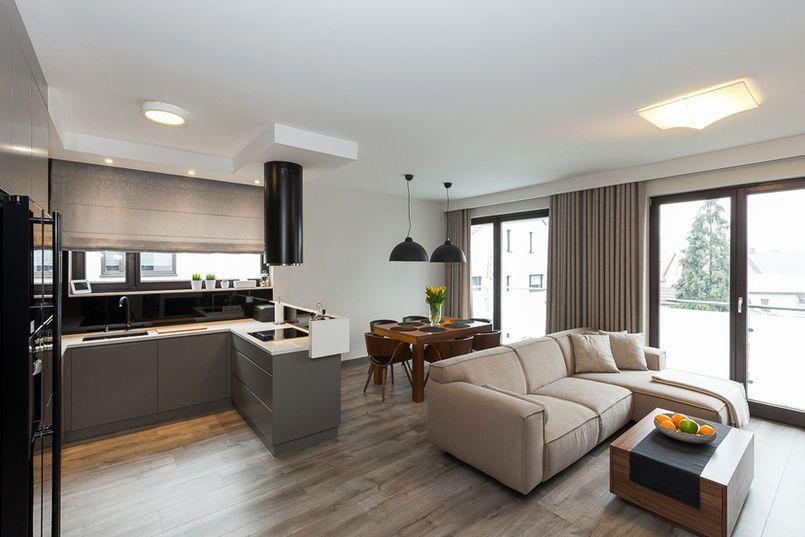 Salon Z Aneksem Kuchennym Kitchen Interior Design Modern Interior Design Kitchen Interior Design