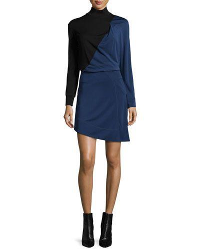 Long-Sleeve Bicolor Mini Dress, Black/Blue