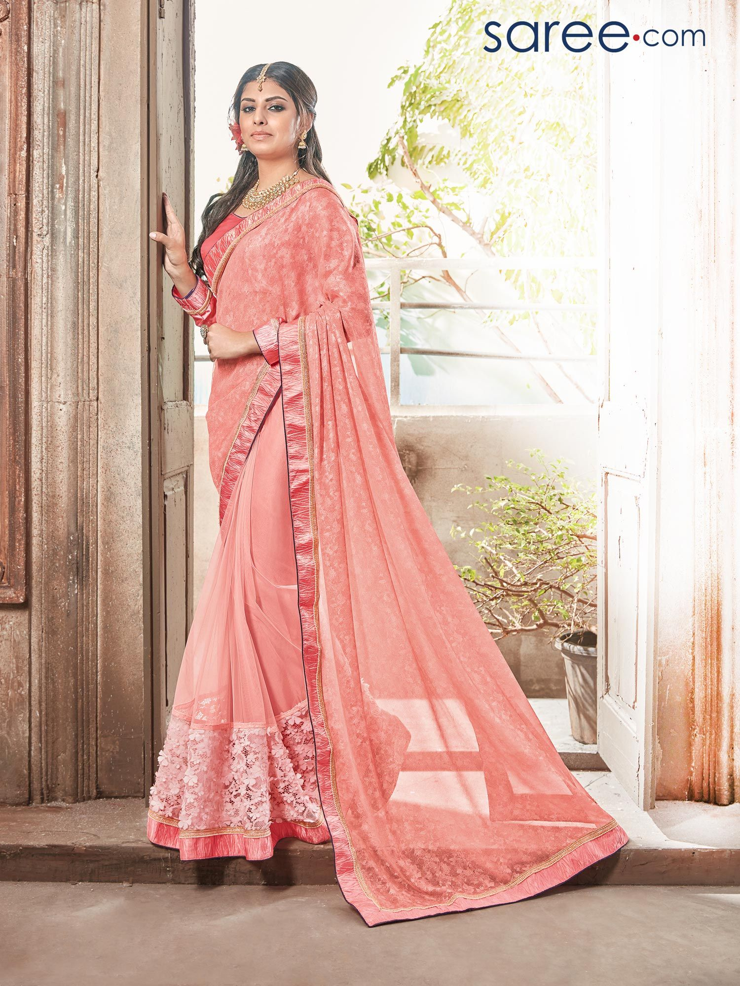 Dresses to wear to a wedding reception  PINK GEORGETTE SAREE WITH EMBROIDERY WORK  Sarees  Pinterest