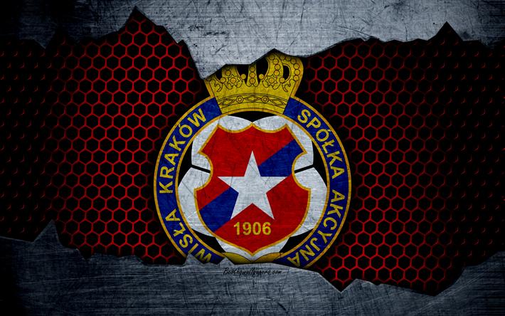 Lataa kuva Wisla Krakow, 4k, logo, Ekstraklasa, jalkapallo, football club, Puola, grunge, art, metalli rakenne, Wisla Krakow FC