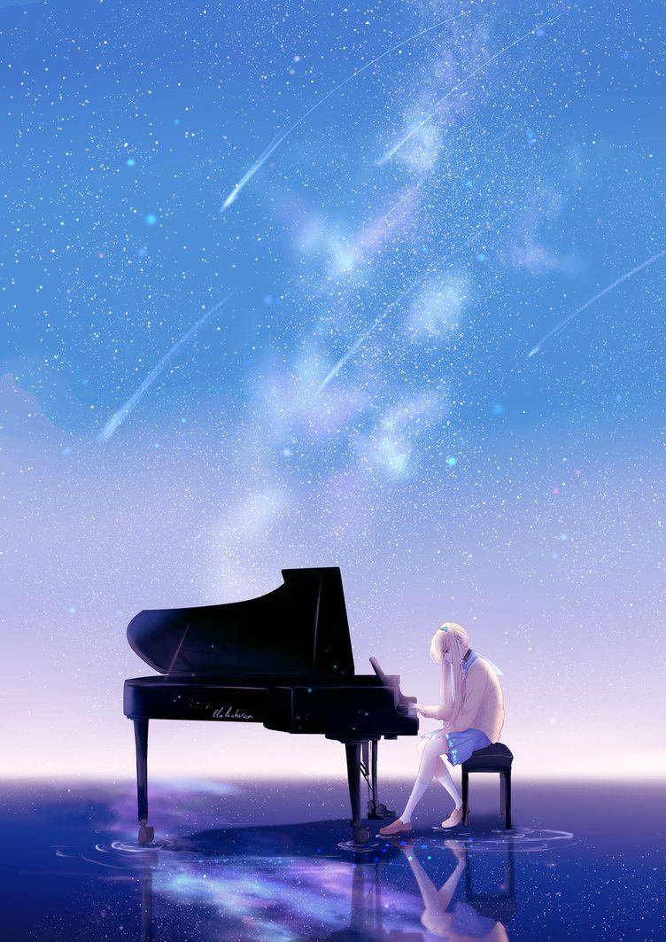 Playing Piano By Lluluchwan Piano Anime Anime Scenery Piano Art