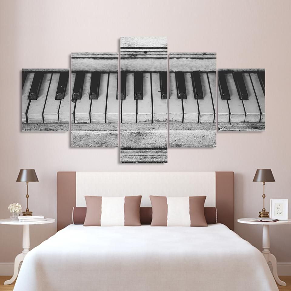 Old music piano keys keyboard black white wall art canvas panel print picture also rh pinterest