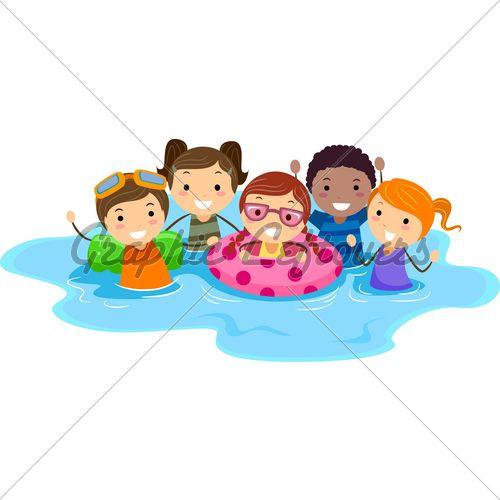 clip art children swimming illustration of kids in a swimming pool rh pinterest com