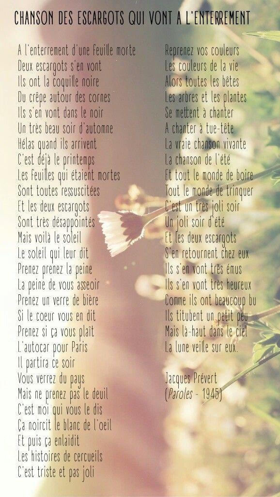 Jacques Prévert Chanson Des Escargots Qui Vont A L'enterrement : jacques, prévert, chanson, escargots, l'enterrement, Jacques, Prévert,