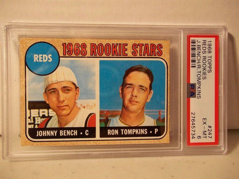 1968 topps johnny bench rc psa exmt 6 baseball card 247
