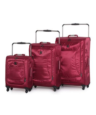 Take a look at this Red World's Lightest Three-Piece Luggage Set by it luggage on #zulily today!