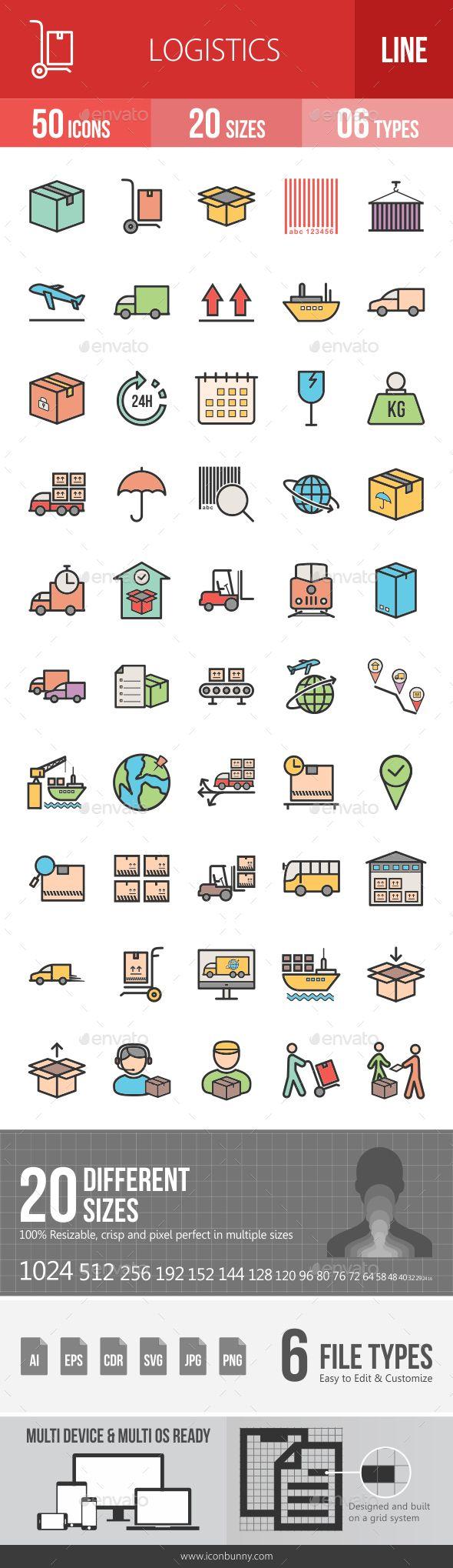 Logistics Filled Line Icons Line Icon Glyph Icon Icon