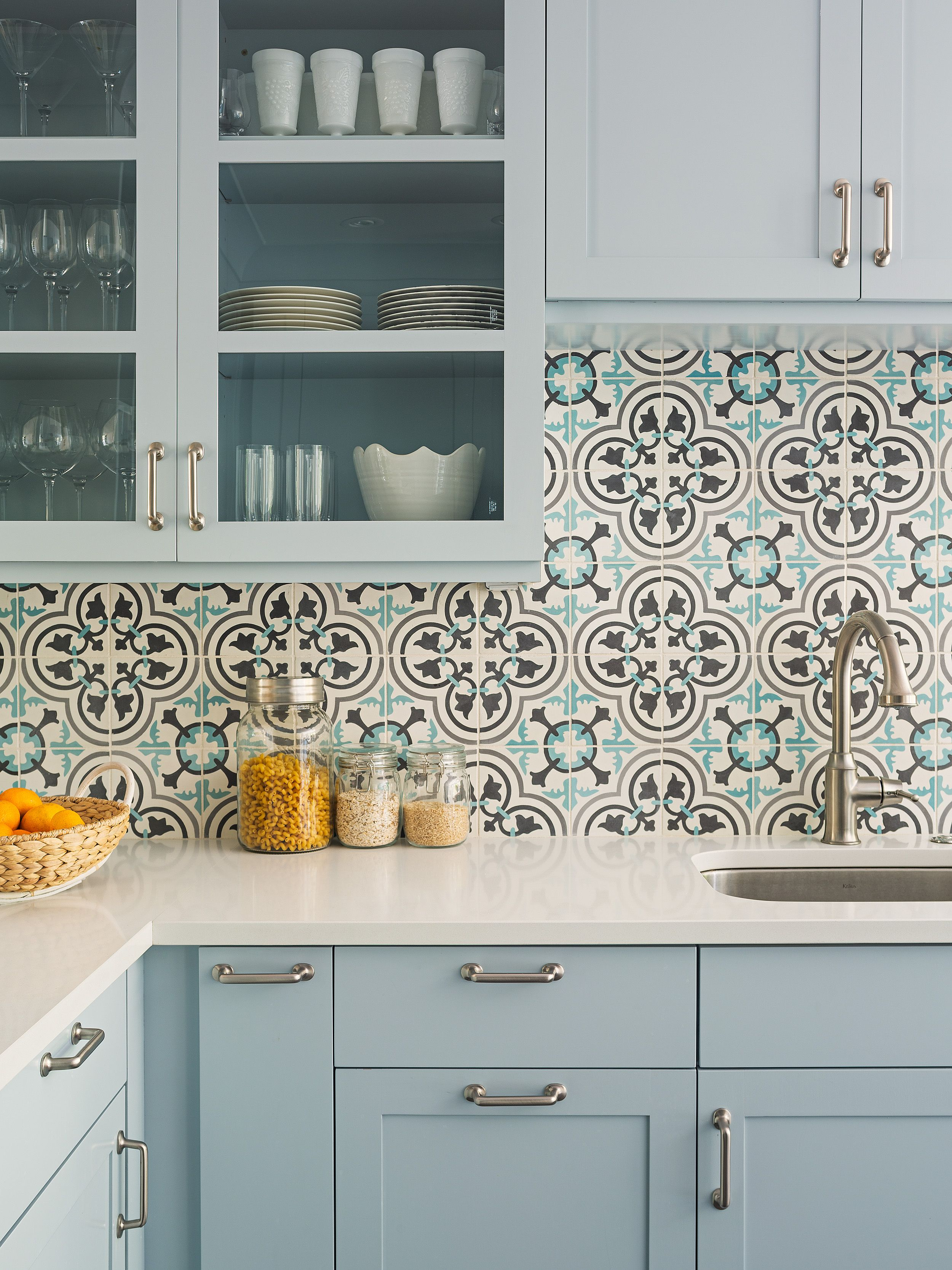 A Granada Tile Cluny Cement Backsplash Updates Traditional Kitchen