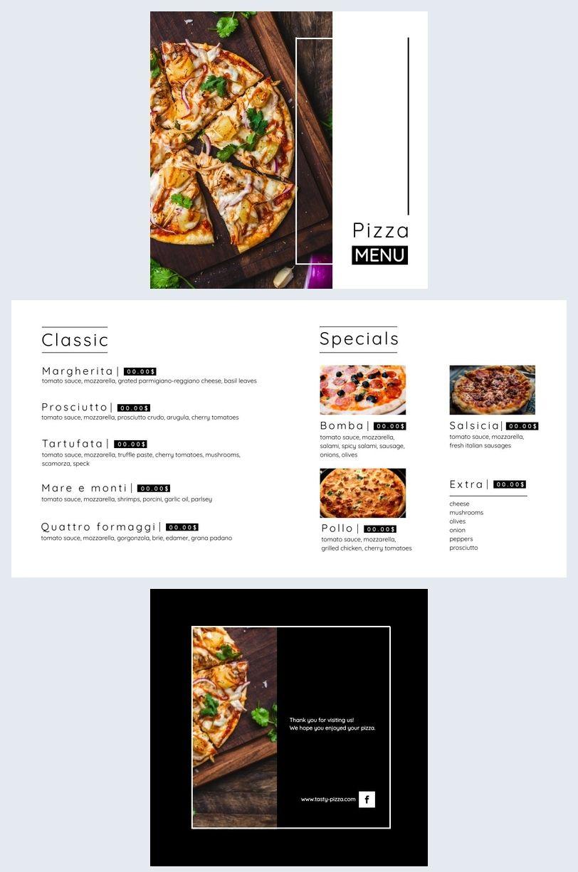 Modern Pizza Menu Template Pizza Menu Menu Template Pizza Menu