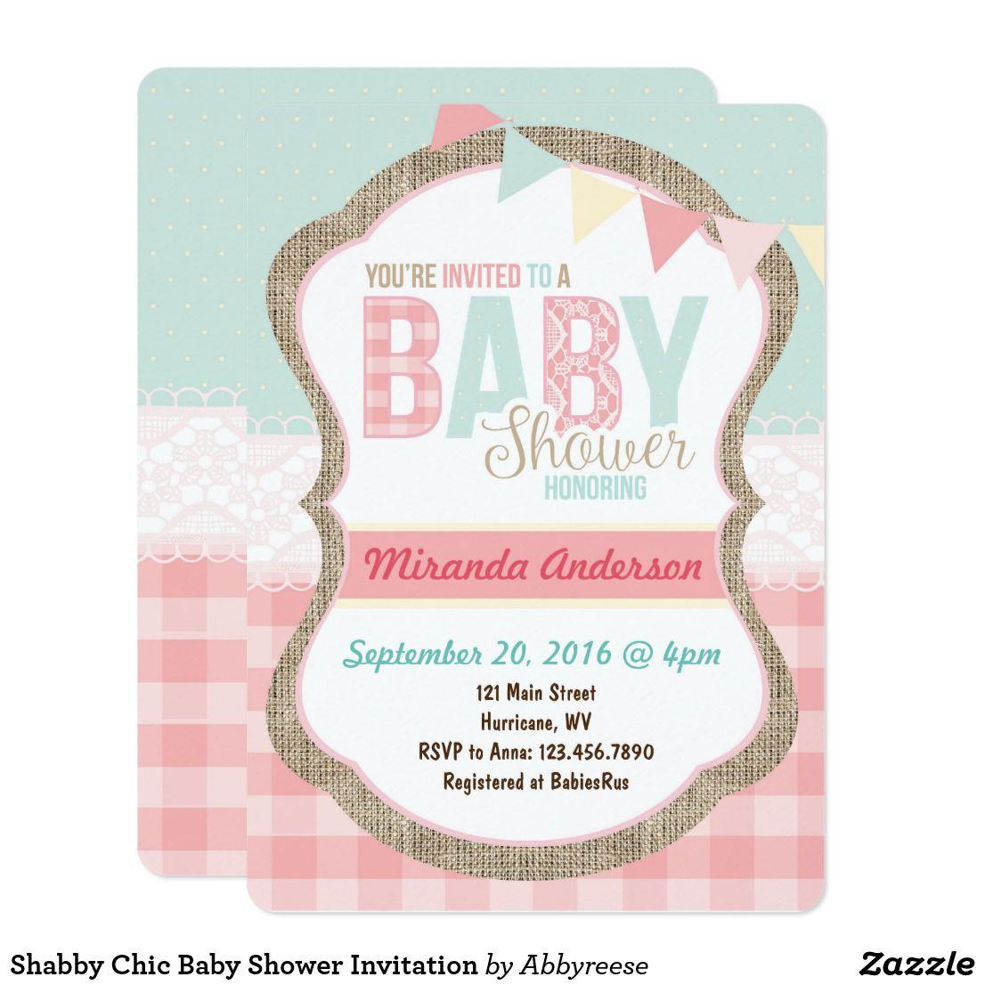 Shabby Chic Baby Shower Invitation | Shabby chic baby shower, Chic ...