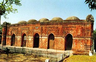 The Bagha Mosque  is situated at Bagha Subdistrict, 25 miles southeast of Rajshahi  in Bangladesh. It was established in 1523 by Nashrat Shah, an independent Sultan of Bengal. The mosque is depicted on the 50 Taka note of Bangladesh.