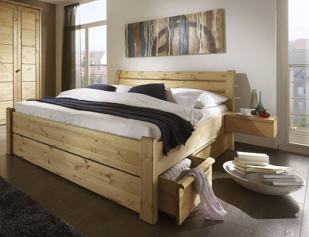 Bettgestell Doppelbett Bettrahmen Bett 180x200 Kiefer Massiv Holz Gelaugt Geolt Bed Frame With Drawers Home Bedroom Furniture