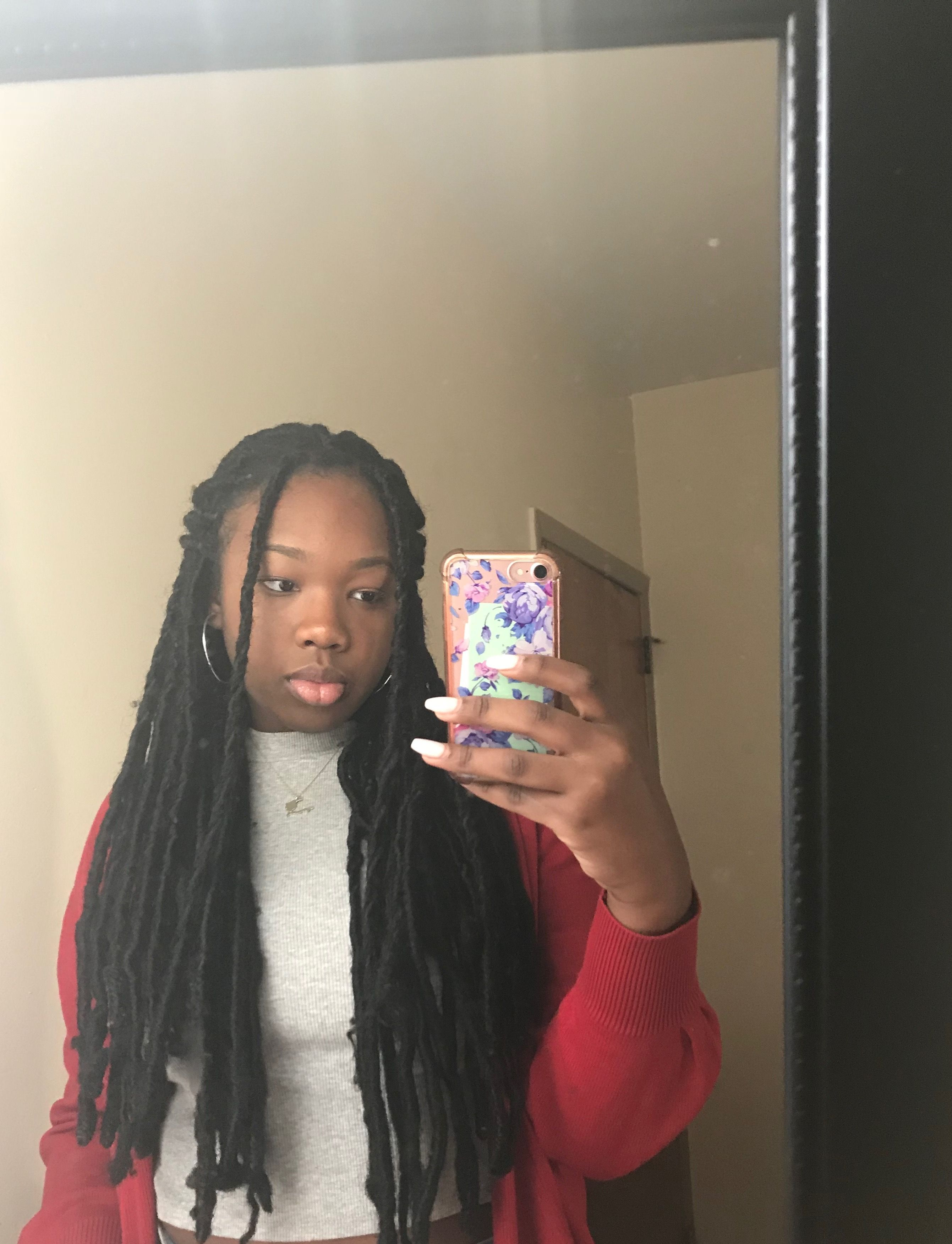Natural Protective Hairstyles Long Black Faux Locs  Teenage Black Girl Natural & Protective
