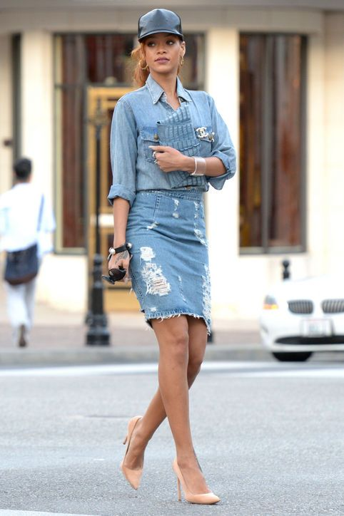 6 Chic Ways to Wear Denim-on-Denim | Denim outfit, Jean skirt and ...