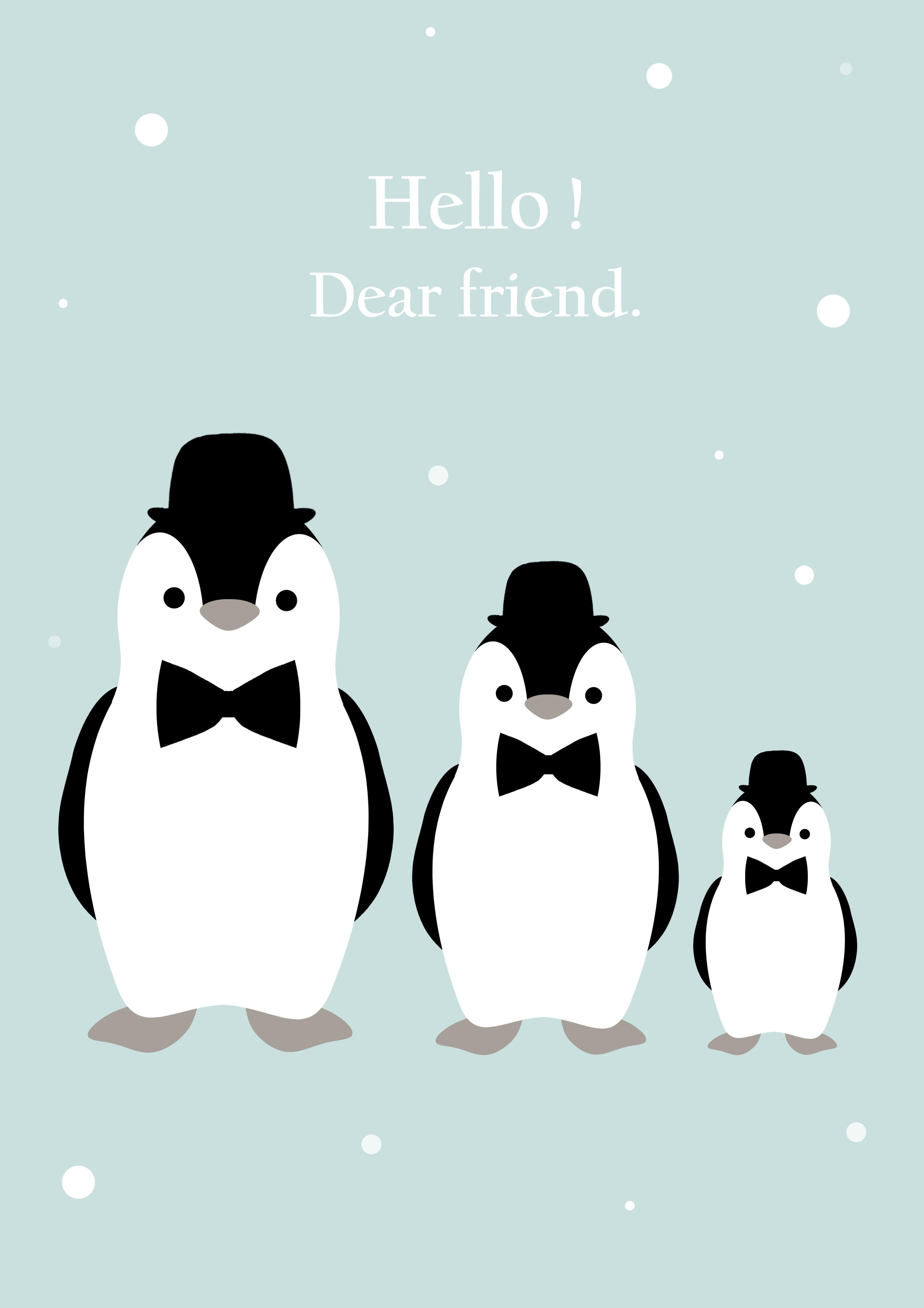 hello dear friend affiche d co pour chambre d 39 enfant pingouin mint kids vintage. Black Bedroom Furniture Sets. Home Design Ideas