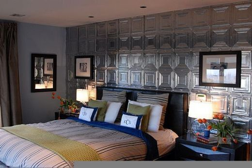 Decorating With Tin Ceiling Tiles Covering An Entire Wall Creates Amazing Accent