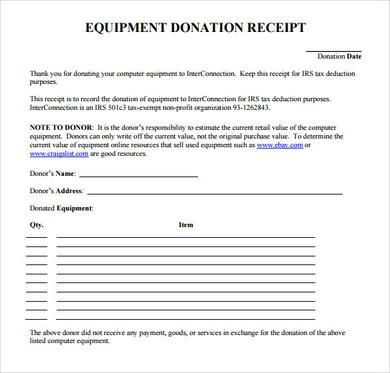 Sample Official Donation Receipt Using The Donation Receipt