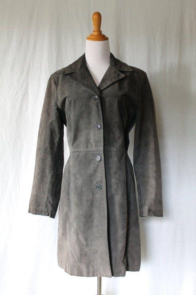 Vintage ALDO Gray Knee Lengh Nubuck leather Car Coat Made in ...