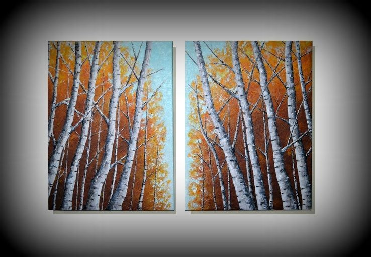 Textured Birch Trees Painting