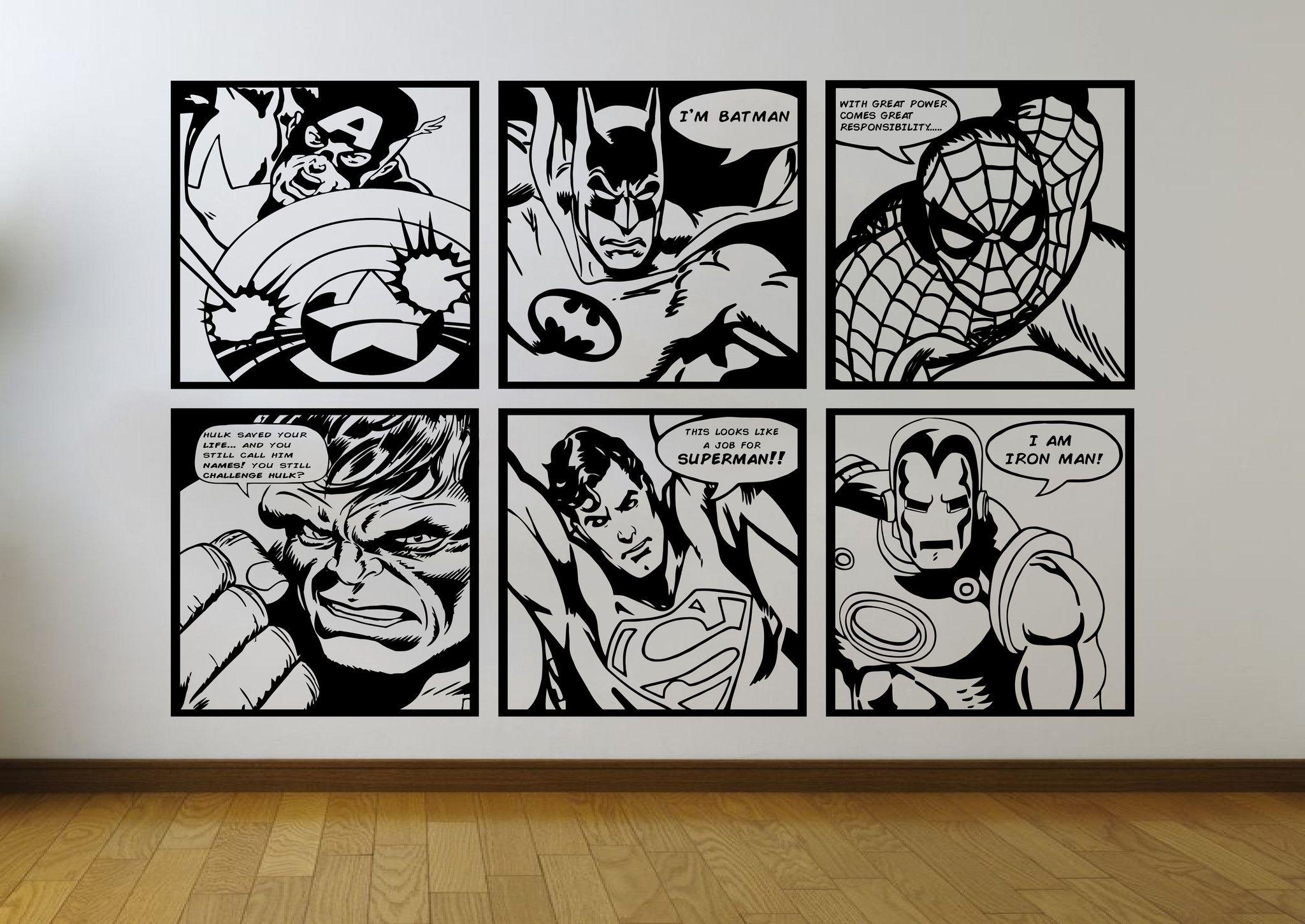 Comic Pop Art Mural Wall Stickers Ft Batman Superman Iron Man Spiderman Captain America Hulk Sticker Art Mural Pop Art