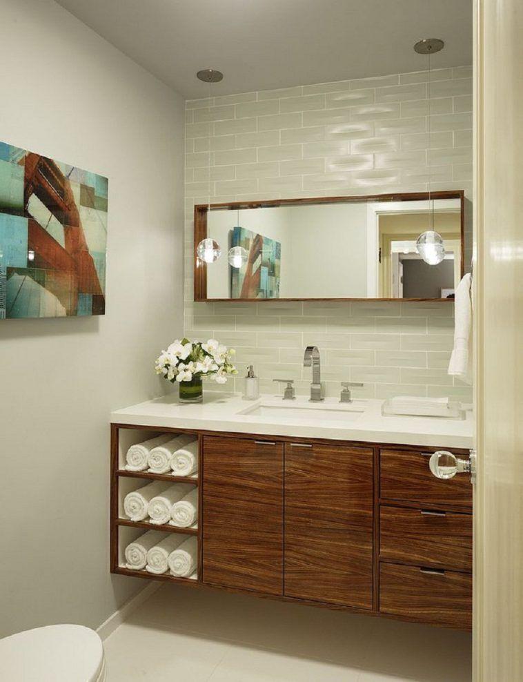 Bathroom Floating Vanity Cabinet With, Bathroom Cabinet With Towel Rack