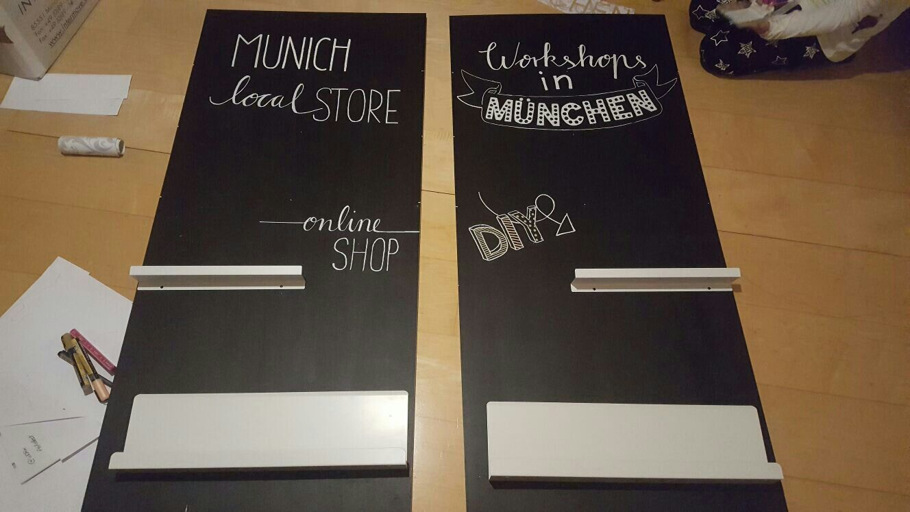 Chalk painting lettering store & fair interior