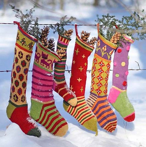Ravelry: Kristin's Creative Christmas Stockings pattern by Kristin Nicholas. Julia yarn is available from Classic Elite Yarns.