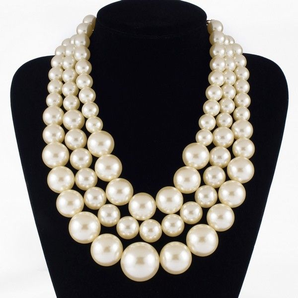 4fd781ec1 Free Shipping Resin Big White Faux Handmade Pearls Multi Strand 3 Layer  Chunky Evening Party Holidays Wedding Necklace