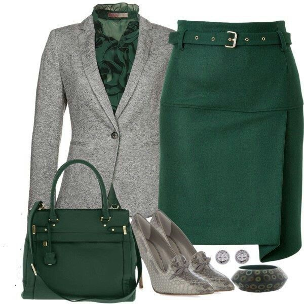 Clwo Emerald Green Grey And Silver Work Outfit Combination