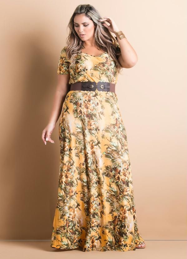 66868c6a8 Vestido Longo Decote em V Floral Plus Size - Quintess Plus Size Chic, Plus  Size